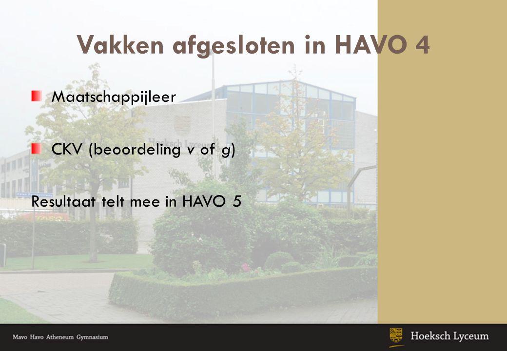 Vakken afgesloten in HAVO 4 Maatschappijleer CKV (beoordeling v of g) Resultaat telt mee in HAVO 5