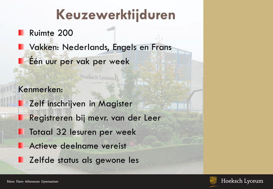 Keuzewerktijduren Ruimte 200 Vakken: Nederlands, Engels en Frans Één uur per vak per week Kenmerken: Zelf inschrijven in Magister Registreren bij mevr.