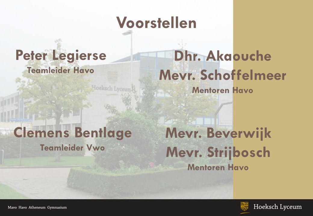 Voorstellen Peter Legierse Teamleider Havo Dhr.Akaouche Mevr.