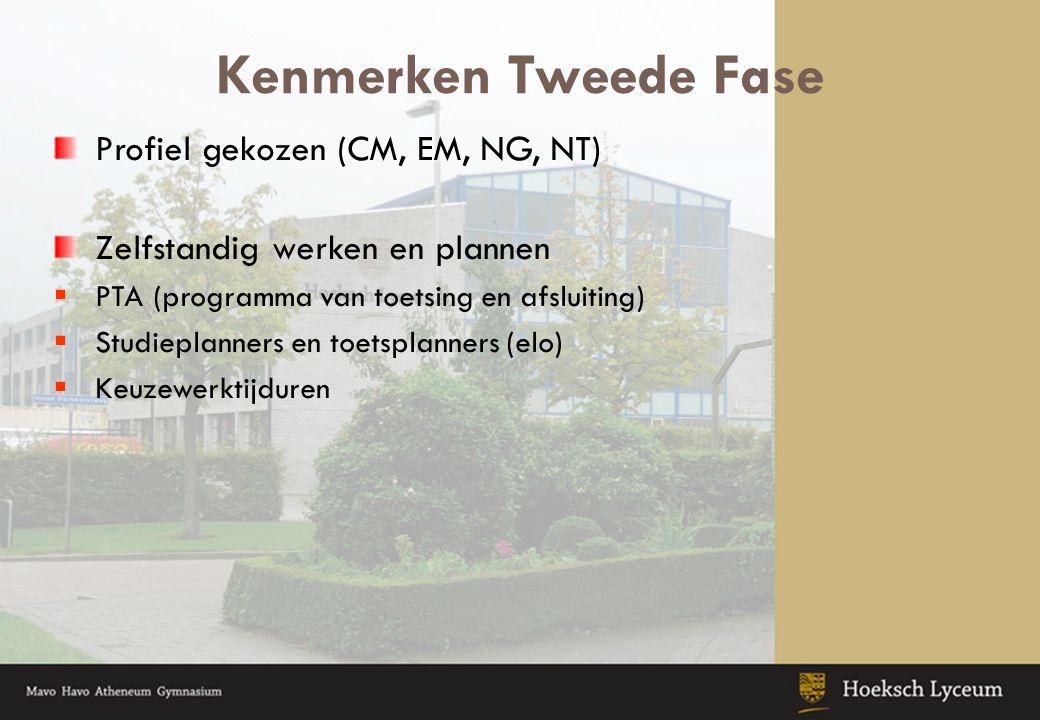 Kenmerken Tweede Fase Profiel gekozen (CM, EM, NG, NT) Zelfstandig werken en plannen  PTA (programma van toetsing en afsluiting)  Studieplanners en toetsplanners (elo)  Keuzewerktijduren