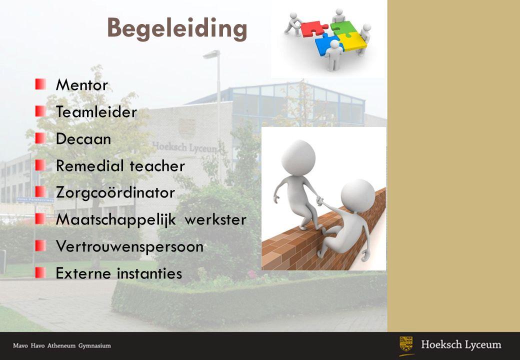 Begeleiding Mentor Teamleider Decaan Remedial teacher Zorgcoördinator Maatschappelijk werkster Vertrouwenspersoon Externe instanties