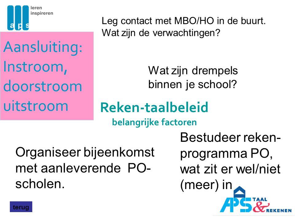 Aansluiting: Instroom, doorstroom uitstroom terug Organiseer bijeenkomst met aanleverende PO- scholen. Leg contact met MBO/HO in de buurt. Wat zijn de