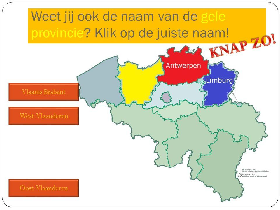 Vlaams Brabant West-Vlaanderen Oost-Vlaanderen Weet jij ook de naam van de gele provincie? Klik op de juiste naam!