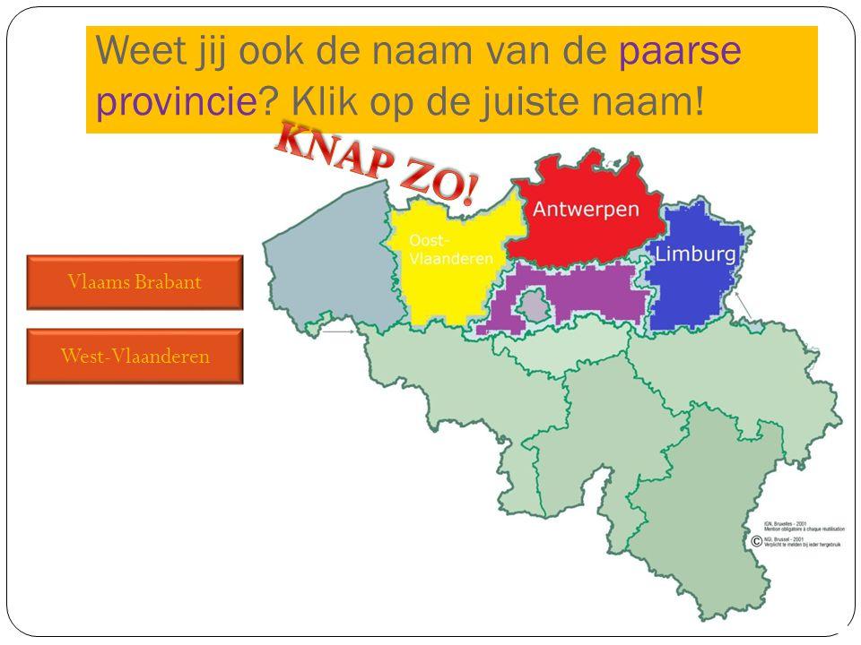 Vlaams Brabant West-Vlaanderen Weet jij ook de naam van de paarse provincie? Klik op de juiste naam!