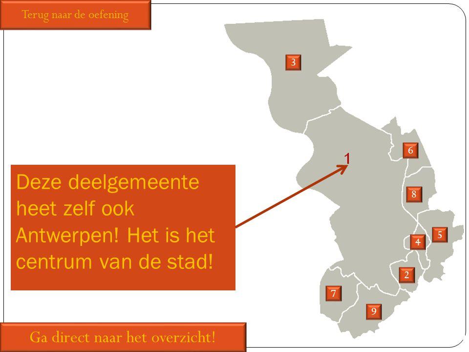 Deze deelgemeente heet zelf ook Antwerpen! Het is het centrum van de stad! 2 3 5 6 7 8 9 Ga direct naar het overzicht! Terug naar de oefening 4