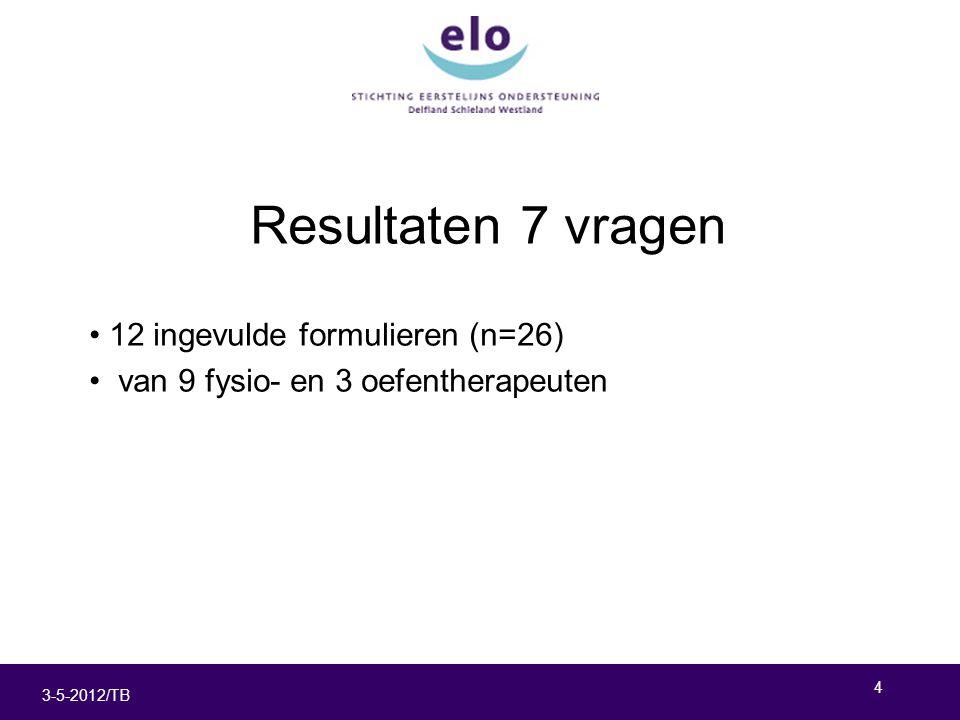 4 3-5-2012/TB Resultaten 7 vragen 12 ingevulde formulieren (n=26) van 9 fysio- en 3 oefentherapeuten
