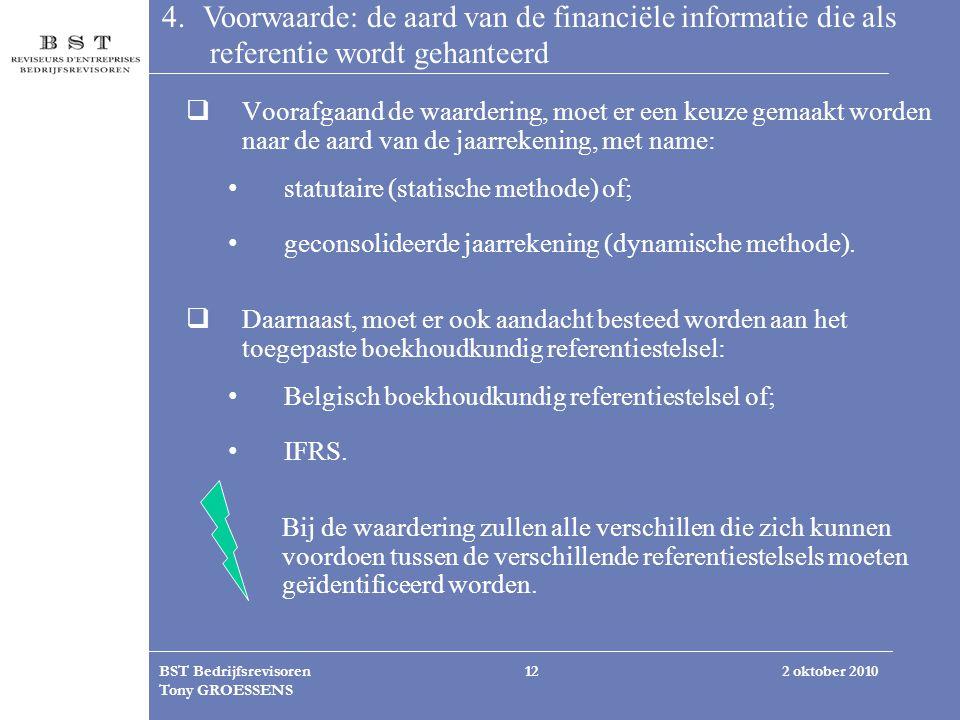 2 oktober 2010BST Bedrijfsrevisoren Tony GROESSENS 12 4. Voorwaarde: de aard van de financiële informatie die als referentie wordt gehanteerd  Vooraf