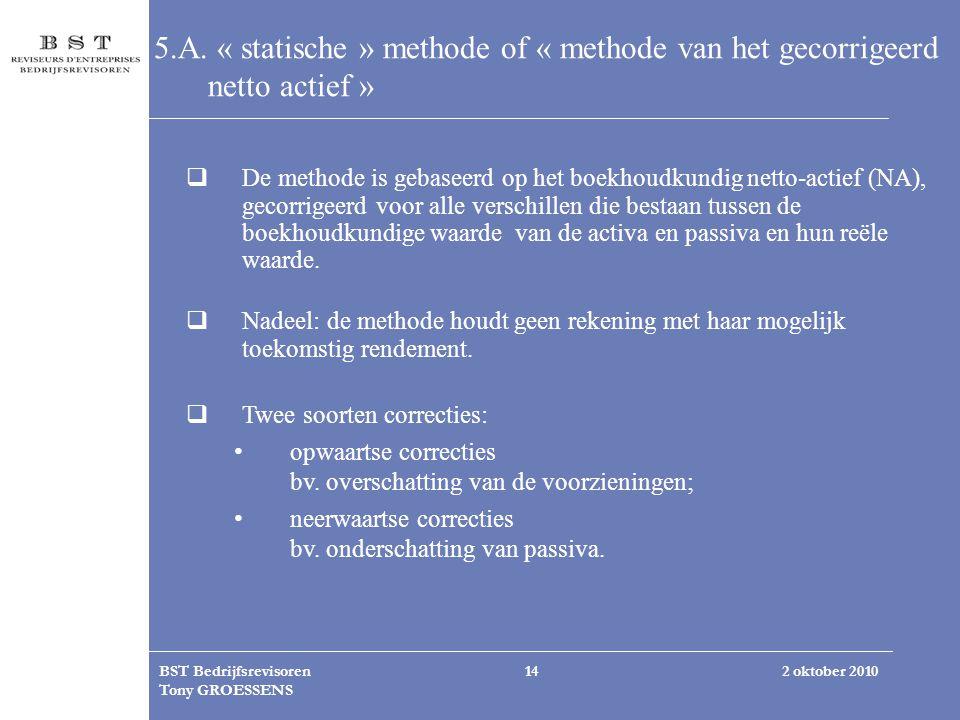 2 oktober 2010BST Bedrijfsrevisoren Tony GROESSENS 14 5.A. « statische » methode of « methode van het gecorrigeerd netto actief »  De methode is geba