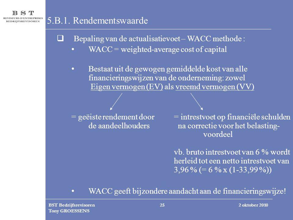 2 oktober 2010BST Bedrijfsrevisoren Tony GROESSENS 25 5.B.1. Rendementswaarde  Bepaling van de actualisatievoet – WACC methode : WACC = weighted-aver