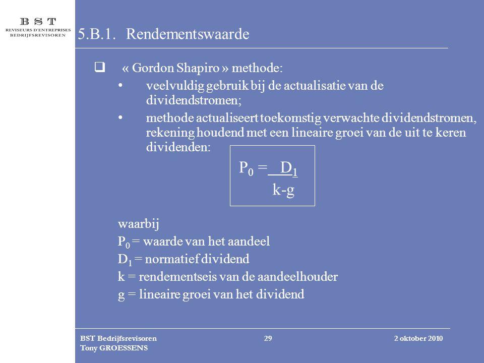 2 oktober 2010BST Bedrijfsrevisoren Tony GROESSENS 29 5.B.1. Rendementswaarde  « Gordon Shapiro » methode: veelvuldig gebruik bij de actualisatie van