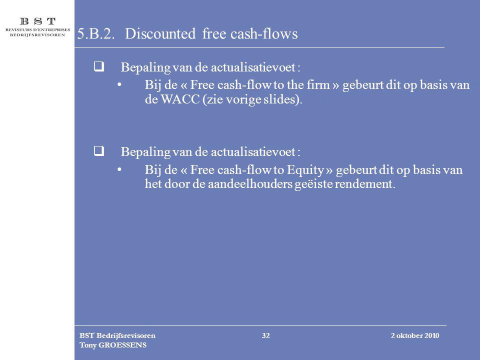 2 oktober 2010BST Bedrijfsrevisoren Tony GROESSENS 32 5.B.2. Discounted free cash-flows  Bepaling van de actualisatievoet : Bij de « Free cash-flow t