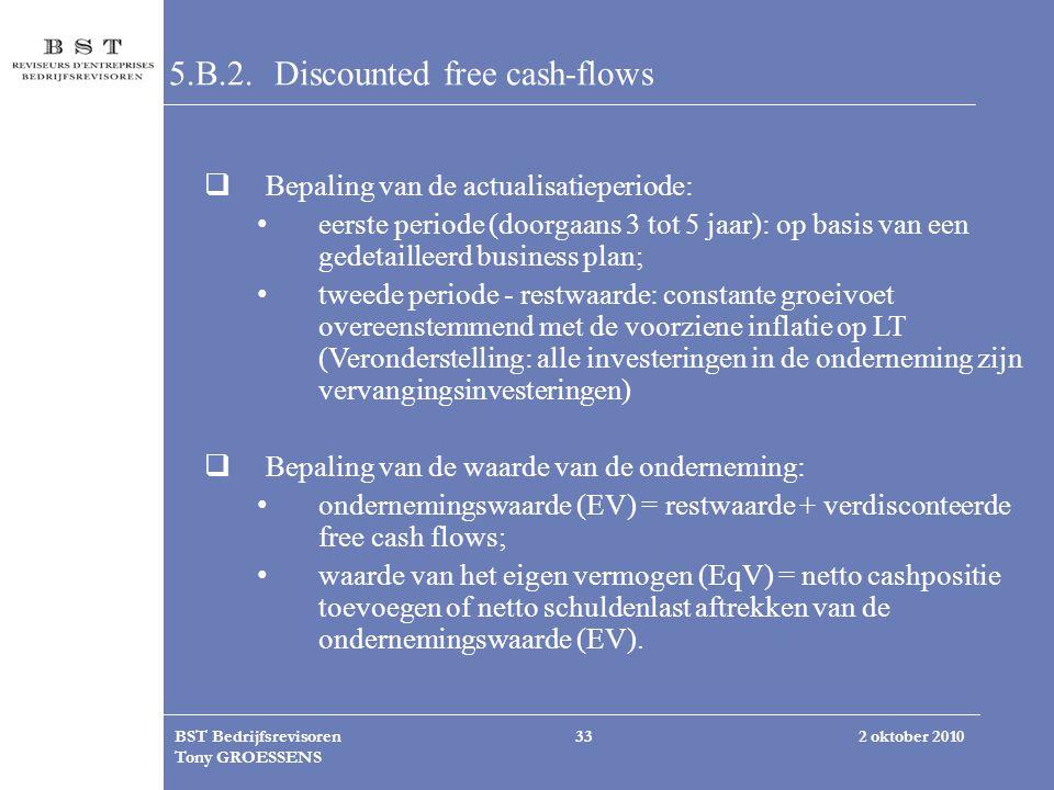 2 oktober 2010BST Bedrijfsrevisoren Tony GROESSENS 33 5.B.2. Discounted free cash-flows  Bepaling van de actualisatieperiode: eerste periode (doorgaa