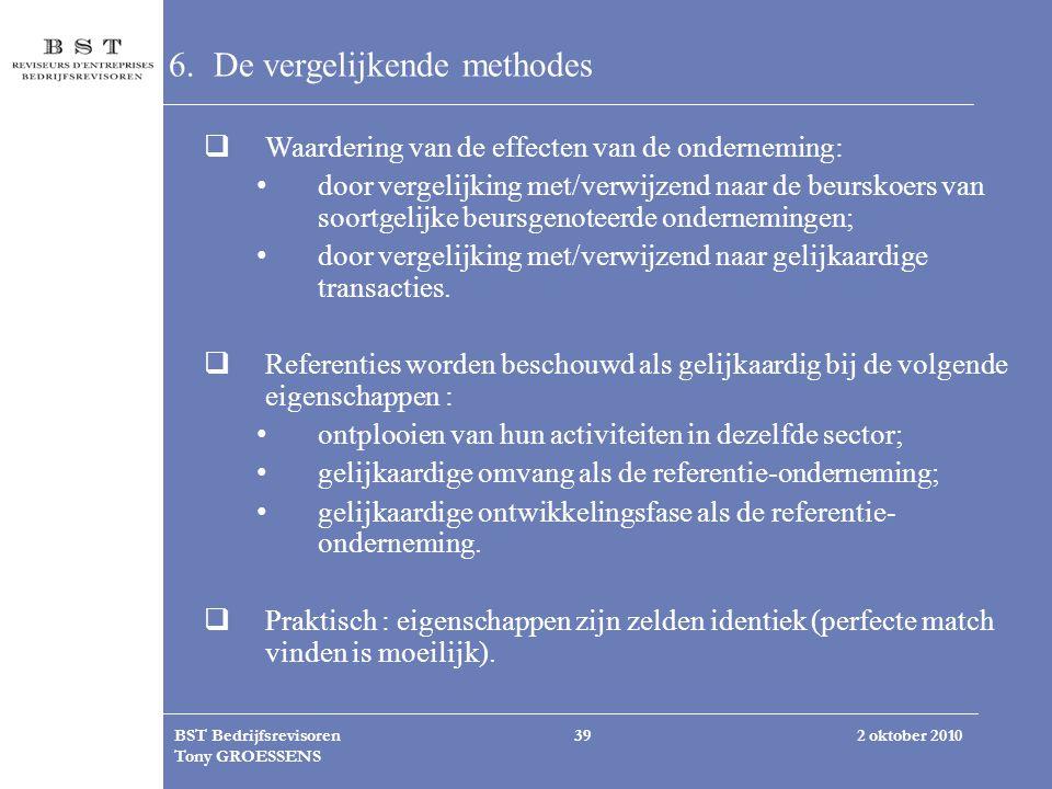 2 oktober 2010BST Bedrijfsrevisoren Tony GROESSENS 39 6. De vergelijkende methodes  Waardering van de effecten van de onderneming: door vergelijking