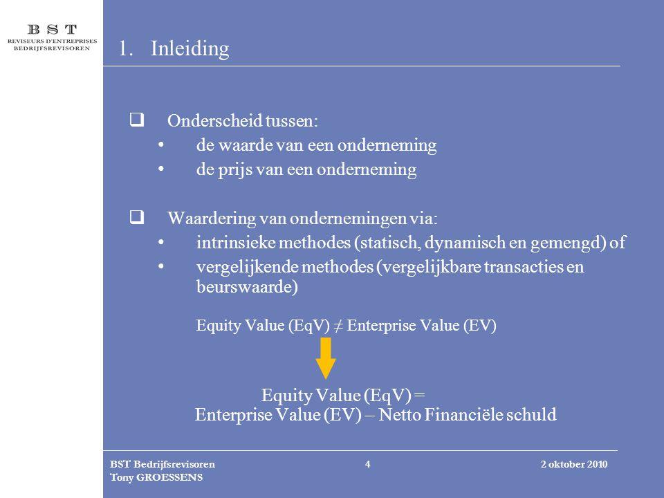 2 oktober 2010BST Bedrijfsrevisoren Tony GROESSENS 4 1.Inleiding  Onderscheid tussen: de waarde van een onderneming de prijs van een onderneming  Wa