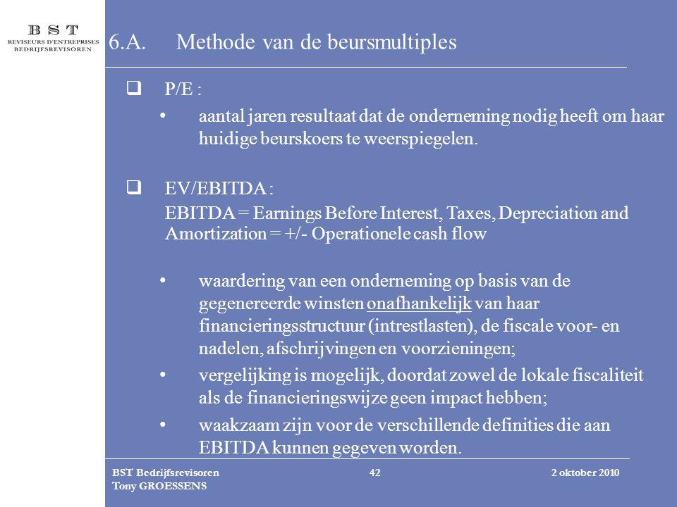 2 oktober 2010BST Bedrijfsrevisoren Tony GROESSENS 42 6.A.Methode van de beursmultiples  P/E : aantal jaren resultaat dat de onderneming nodig heeft