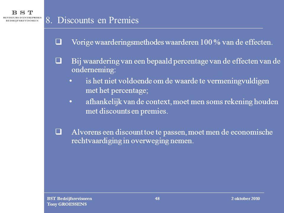 2 oktober 2010BST Bedrijfsrevisoren Tony GROESSENS 48 8. Discounts en Premies  Vorige waarderingsmethodes waarderen 100 % van de effecten.  Bij waar