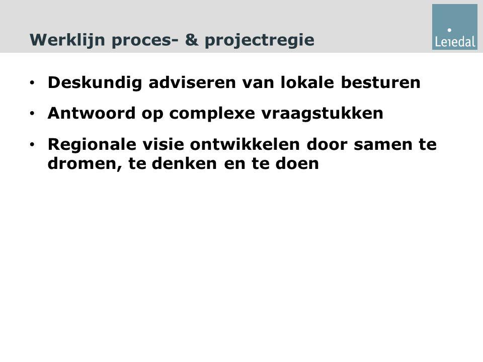 Werklijn proces- & projectregie Deskundig adviseren van lokale besturen Antwoord op complexe vraagstukken Regionale visie ontwikkelen door samen te dromen, te denken en te doen