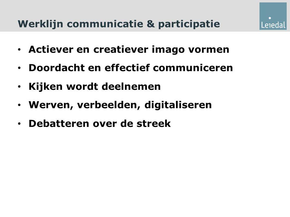 Werklijn communicatie & participatie Actiever en creatiever imago vormen Doordacht en effectief communiceren Kijken wordt deelnemen Werven, verbeelden, digitaliseren Debatteren over de streek