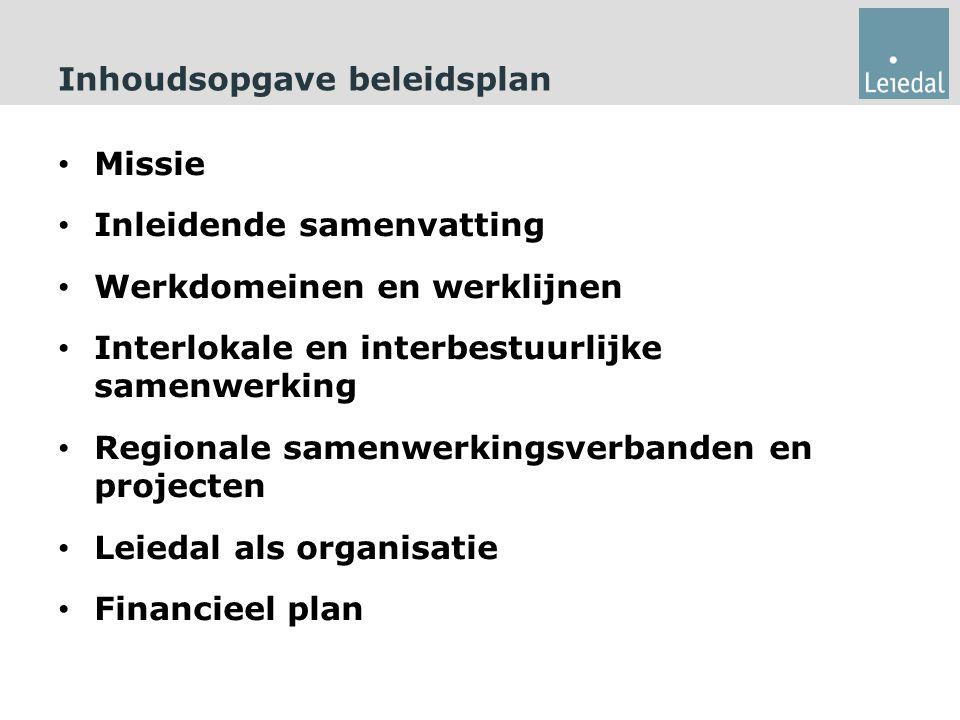 Inhoudsopgave beleidsplan Missie Inleidende samenvatting Werkdomeinen en werklijnen Interlokale en interbestuurlijke samenwerking Regionale samenwerkingsverbanden en projecten Leiedal als organisatie Financieel plan
