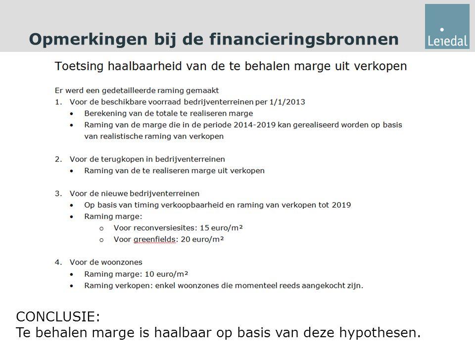 Opmerkingen bij de financieringsbronnen CONCLUSIE: Te behalen marge is haalbaar op basis van deze hypothesen.
