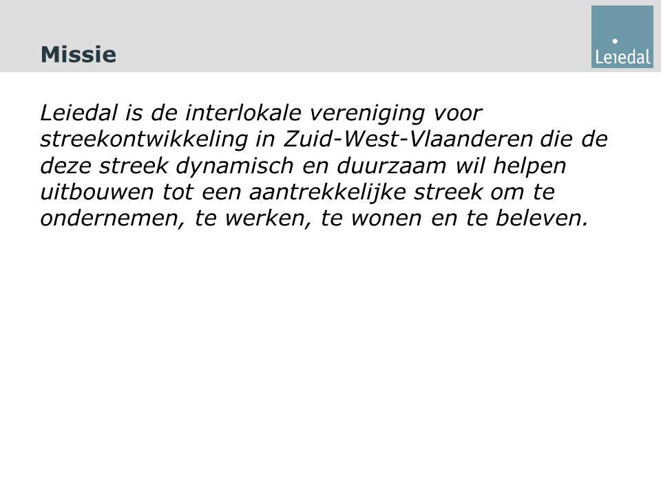 Missie Leiedal is de interlokale vereniging voor streekontwikkeling in Zuid-West-Vlaanderen die de deze streek dynamisch en duurzaam wil helpen uitbouwen tot een aantrekkelijke streek om te ondernemen, te werken, te wonen en te beleven.
