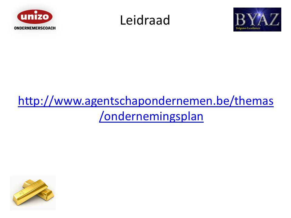 Leidraad http://www.agentschapondernemen.be/themas /ondernemingsplan