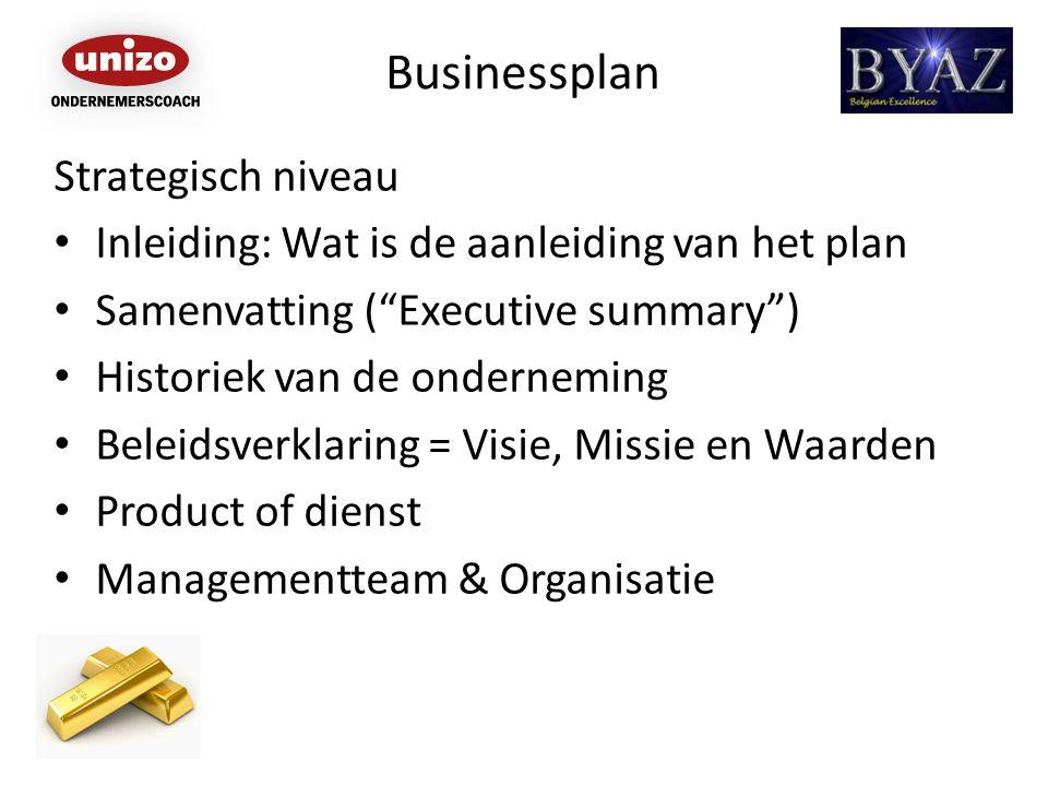 Businessplan Strategisch niveau Inleiding: Wat is de aanleiding van het plan Samenvatting ( Executive summary ) Historiek van de onderneming Beleidsverklaring = Visie, Missie en Waarden Product of dienst Managementteam & Organisatie
