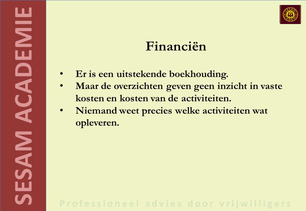 SESAM ACADEMIE Professioneel advies door vrijwilligers Financiën Er is een uitstekende boekhouding.