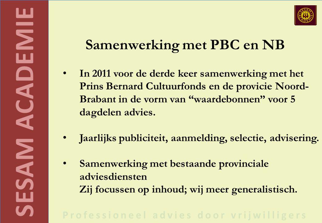 SESAM ACADEMIE Professioneel advies door vrijwilligers Samenwerking met PBC en NB In 2011 voor de derde keer samenwerking met het Prins Bernard Cultuurfonds en de provicie Noord- Brabant in de vorm van waardebonnen voor 5 dagdelen advies.