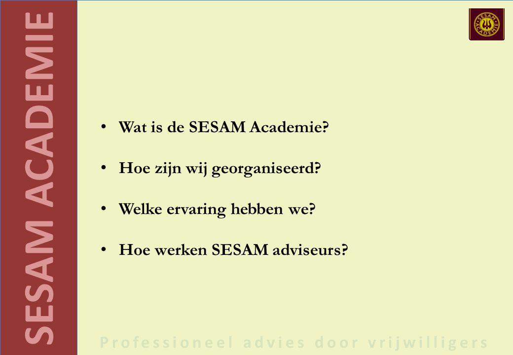 SESAM ACADEMIE Professioneel advies door vrijwilligers Wat is de SESAM Academie.