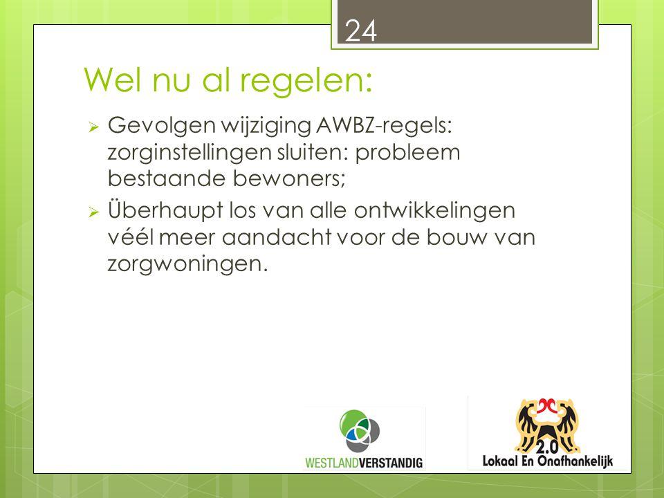 Wel nu al regelen:  Gevolgen wijziging AWBZ-regels: zorginstellingen sluiten: probleem bestaande bewoners;  Überhaupt los van alle ontwikkelingen vé