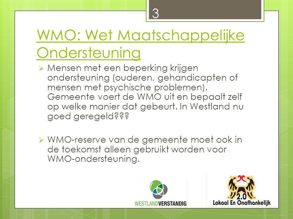WMO: Wet Maatschappelijke Ondersteuning  Mensen met een beperking krijgen ondersteuning (ouderen, gehandicapten of mensen met psychische problemen).