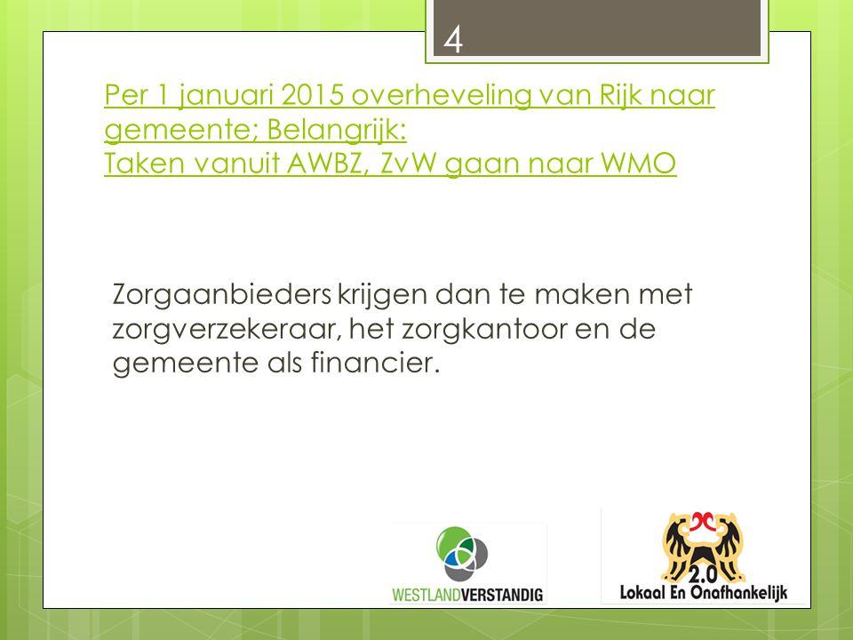 Per 1 januari 2015 overheveling van Rijk naar gemeente; Belangrijk: Taken vanuit AWBZ, ZvW gaan naar WMO Zorgaanbieders krijgen dan te maken met zorgv