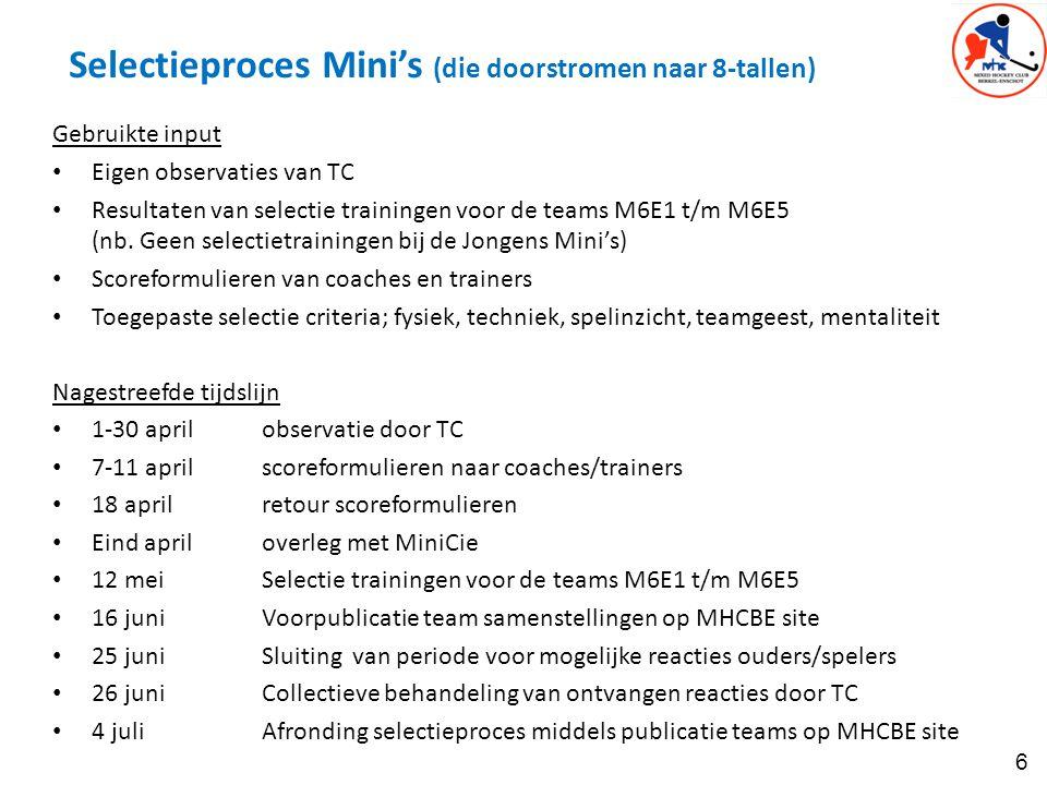 6 Selectieproces Mini's (die doorstromen naar 8-tallen) Gebruikte input Eigen observaties van TC Resultaten van selectie trainingen voor de teams M6E1