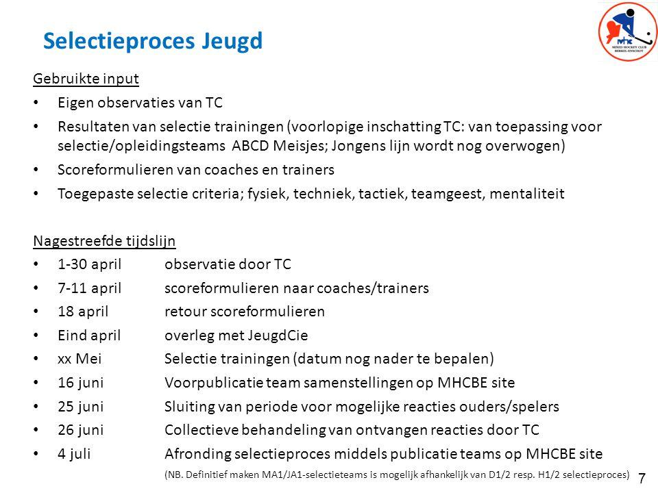 7 Selectieproces Jeugd Gebruikte input Eigen observaties van TC Resultaten van selectie trainingen (voorlopige inschatting TC: van toepassing voor sel