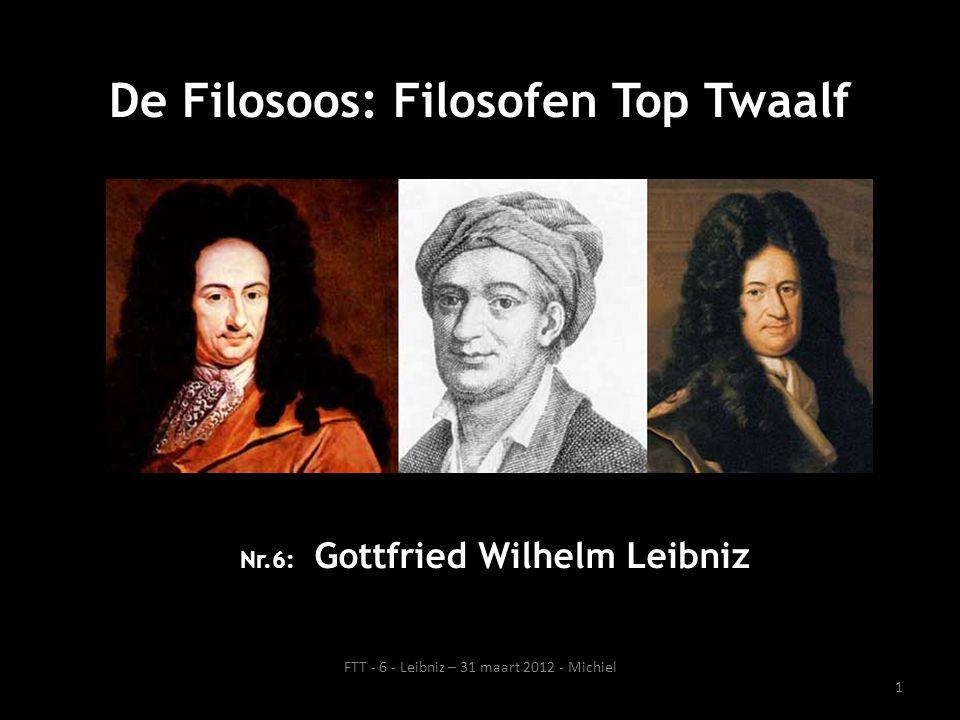 Leven Leibniz: kort overzicht 1 juli 1646 (Leipzig, Duitsland) – 14 november 1716 (Hannover, Duitsland) Zijn vader werkte aan de filosofische faculteit van de Universiteit van Leipzig en stierf toen Gottfried zes jaar was.