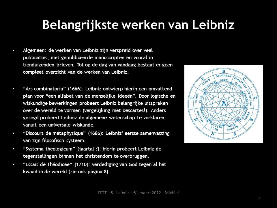 Belangrijkste werken van Leibniz Algemeen: de werken van Leibniz zijn verspreid over veel publicaties, niet gepubliceerde manuscripten en vooral in ti