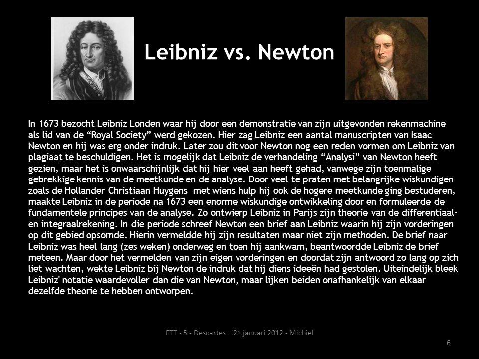 """In 1673 bezocht Leibniz Londen waar hij door een demonstratie van zijn uitgevonden rekenmachine als lid van de """"Royal Society"""" werd gekozen. Hier zag"""