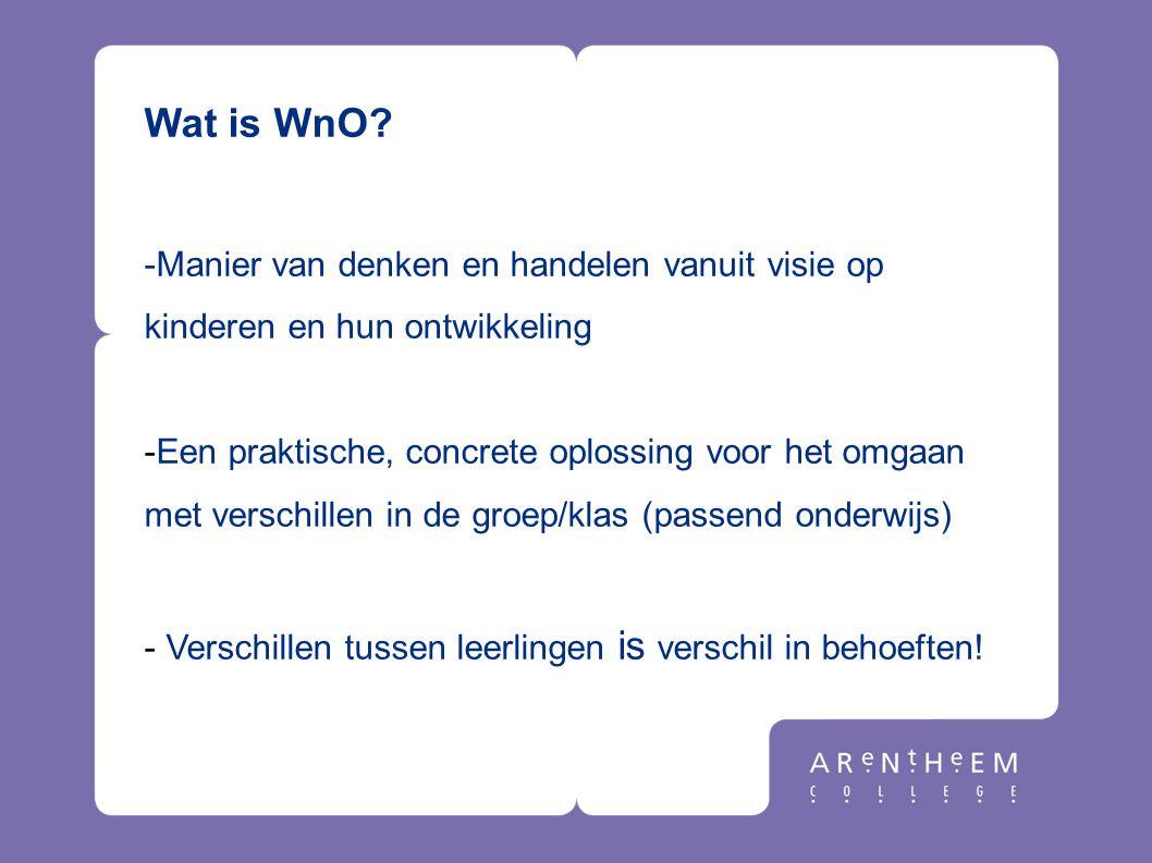 Wat is WnO? -Manier van denken en handelen vanuit visie op kinderen en hun ontwikkeling -Een praktische, concrete oplossing voor het omgaan met versch