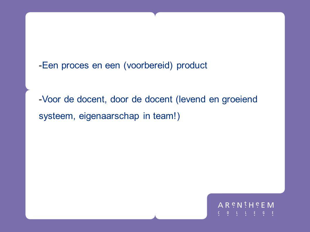 -Een proces en een (voorbereid) product -Voor de docent, door de docent (levend en groeiend systeem, eigenaarschap in team!) Wat is het niet?