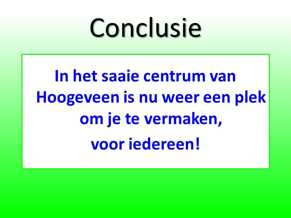 Conclusie In het saaie centrum van Hoogeveen is nu weer een plek om je te vermaken, voor iedereen!