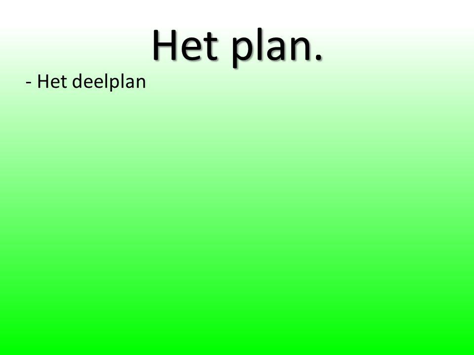 Het plan. - Het deelplan