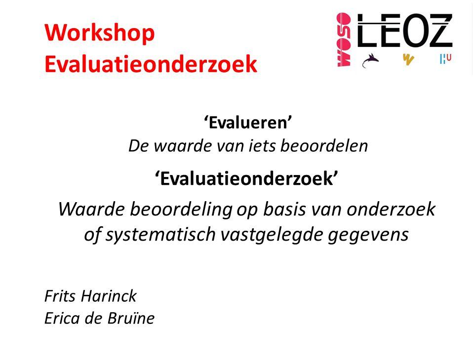 'Evalueren' De waarde van iets beoordelen 'Evaluatieonderzoek' Waarde beoordeling op basis van onderzoek of systematisch vastgelegde gegevens Frits Ha