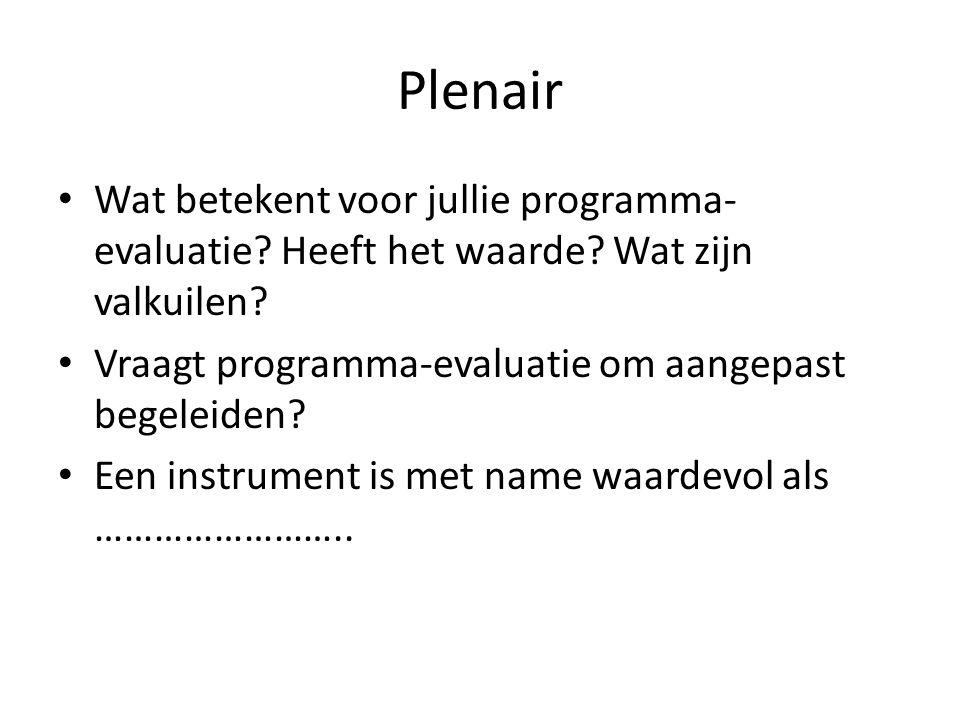 Plenair Wat betekent voor jullie programma- evaluatie? Heeft het waarde? Wat zijn valkuilen? Vraagt programma-evaluatie om aangepast begeleiden? Een i