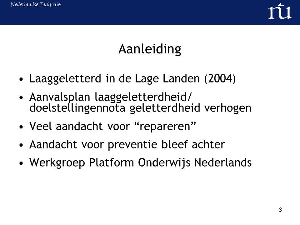 4 Onderzoek Zorgen om leesniveau leerlingen Nederland en Vlaanderen Verschillen zijn groot 20% kan leestaken in 1 e jaar voortgezet/ secundair onderwijs niet zelfstandig aan (vmbo/bso/tso hoger) Functionele ongeletterdheid heeft negatieve gevolgen voor schoolloopbaan en maatschappelijk succes (PIRLS 2007, PISA 2007, IALS 1997, PPON/CITO 2007, Peiling lezen en luisteren 2007, Inspectie van het Onderwijs 2008, Hacquebord e.a.