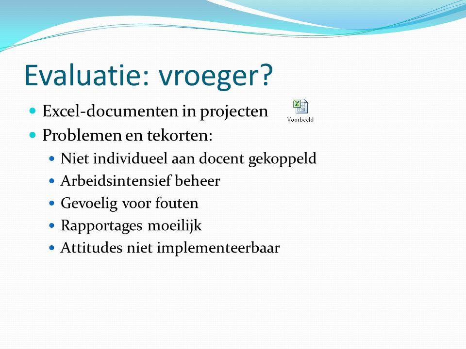 Evaluatie: vroeger? Excel-documenten in projecten Problemen en tekorten: Niet individueel aan docent gekoppeld Arbeidsintensief beheer Gevoelig voor f