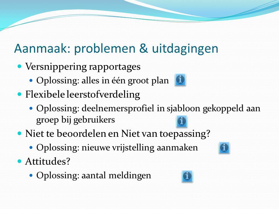 Aanmaak: problemen & uitdagingen Versnippering rapportages Oplossing: alles in één groot plan Flexibele leerstofverdeling Oplossing: deelnemersprofiel