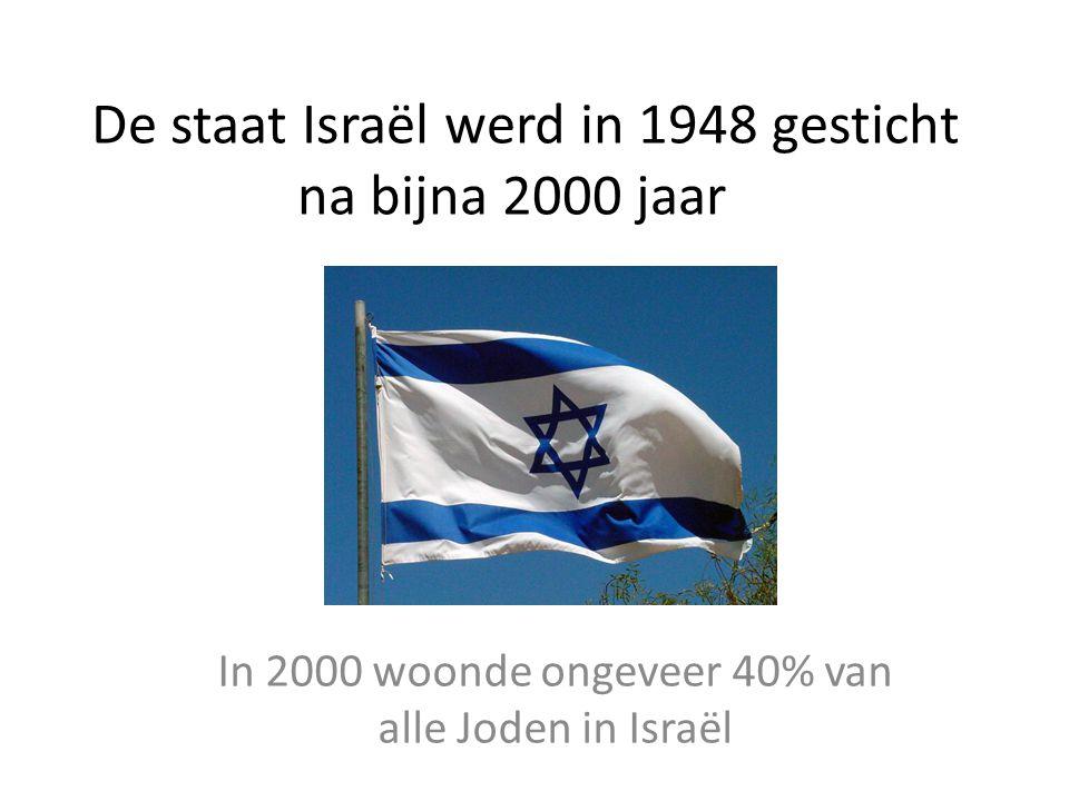 De staat Israël werd in 1948 gesticht na bijna 2000 jaar In 2000 woonde ongeveer 40% van alle Joden in Israël