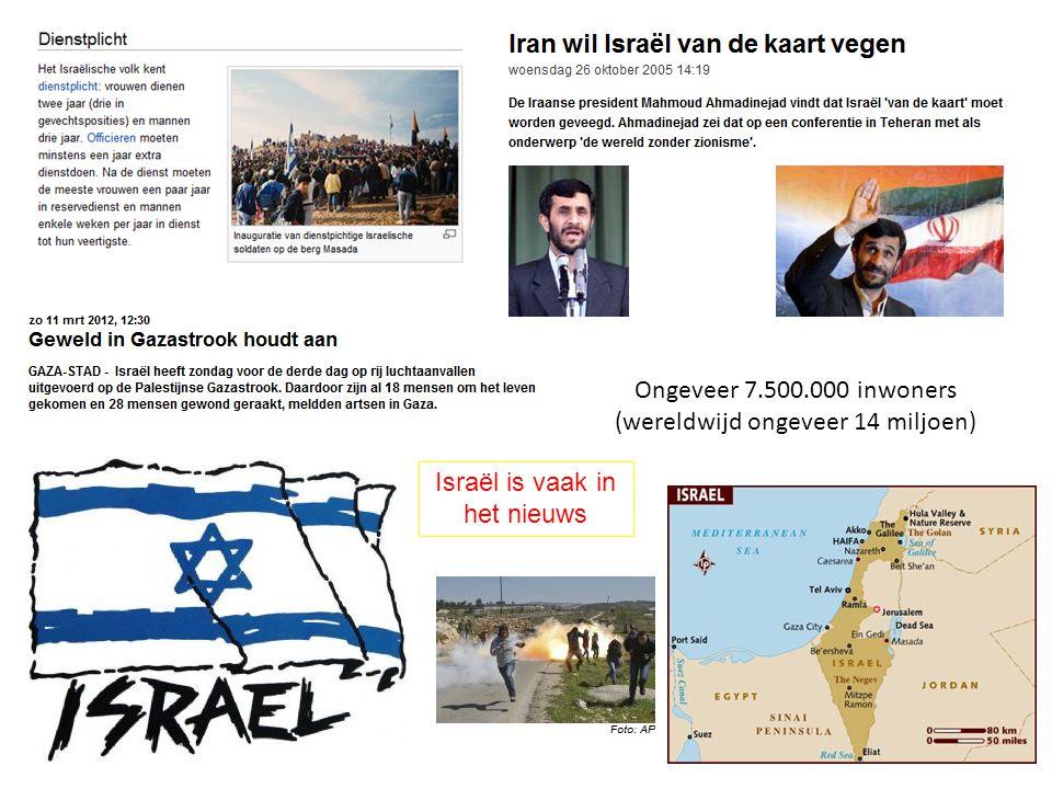 Ongeveer 7.500.000 inwoners (wereldwijd ongeveer 14 miljoen) Israël is vaak in het nieuws