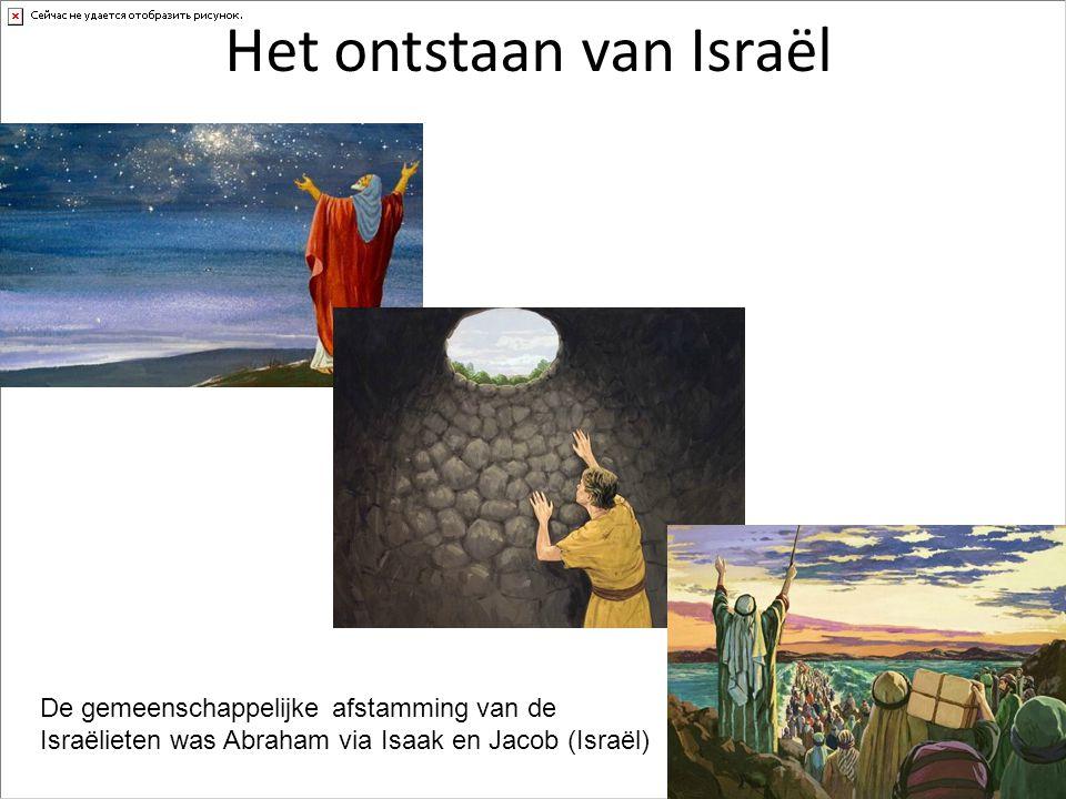 Het ontstaan van Israël De gemeenschappelijke afstamming van de Israëlieten was Abraham via Isaak en Jacob (Israël)